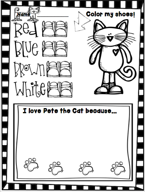 FREE Pete the Cat  I Love my White shoes worksheet